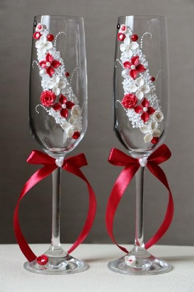 Свадебные бокалы декор своими руками