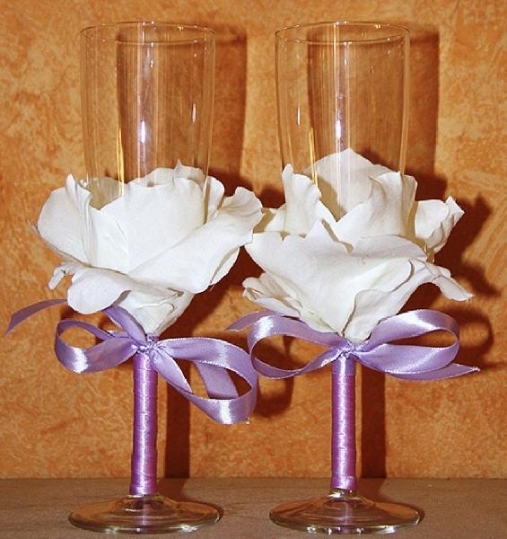 Украшение фужеров на свадьбу своими руками