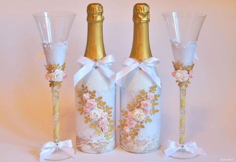 Оформление бокалов бутылок на свадьбу своими руками